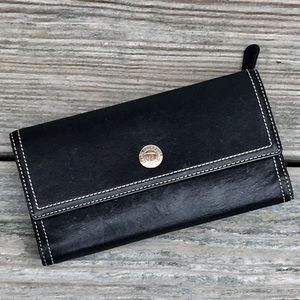VINTAGE COACH Black Pink Long Wallet w/ Checkbook